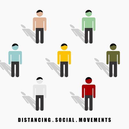 Distancing Social Movement vector Illustration for template design  イラスト・ベクター素材