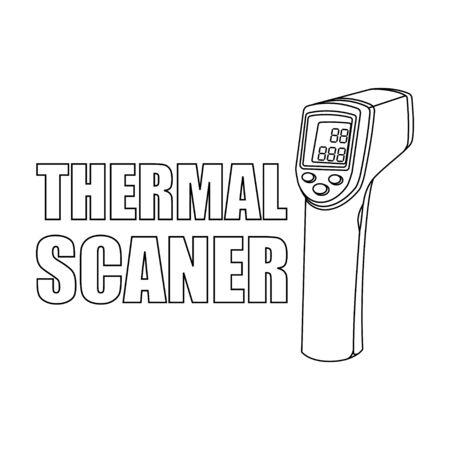 Umriss-Thermo-Scanner-Vektor-Illustration für Vorlagendesign