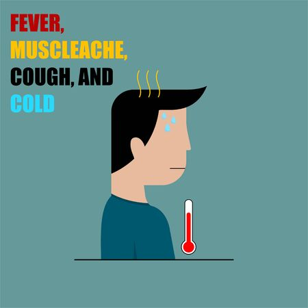 Fever, Muscle ache, Cough and Cold vector Illustration for template design