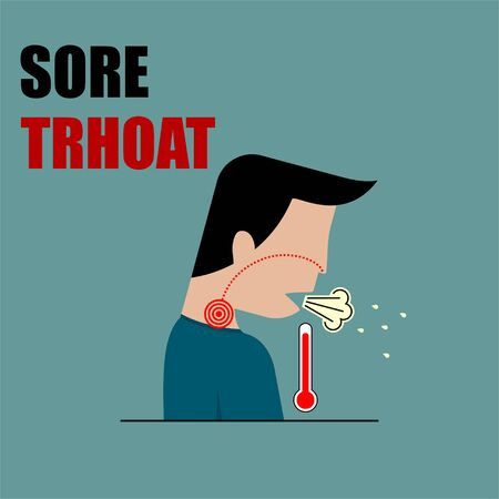 Sore Throat, Acute Respiratory Disorders vector Illustration for template Design