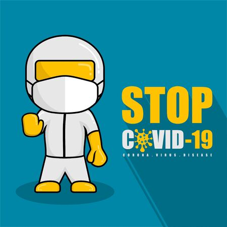 Human wearing hazmat suits and protective masks to prevent coronavirus cartoon Illustration Vektorové ilustrace