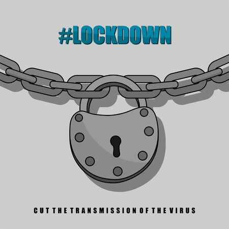 Locked chain with padlock for Lockdown or quarantine activity vector Illustration for template design