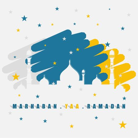Ramadan design with silhouette of mosque vector illustration