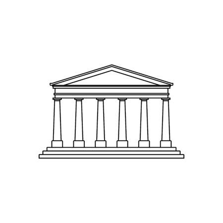 Outline Museum Design. Museum Building template. Vector Illustration