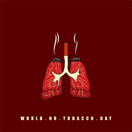 World No Tobacco Day. Burned Lungs with Cigarette. Celebrate on May 31. Vector Illustration.