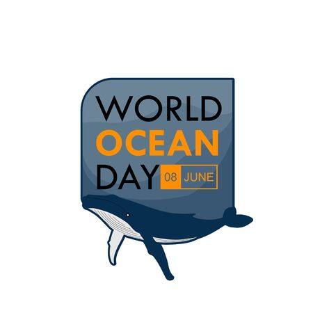 World Ocean Day. Whale Under the text. Typography logo design. Vector Illustration
