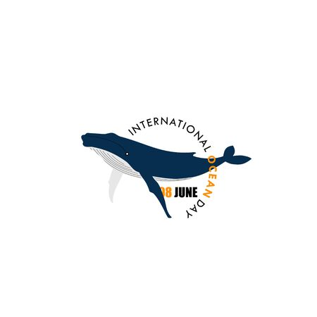International Ocean Day. Typography Whale logo. Whale on circle text. Vector Illustration.