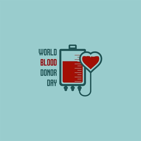 World Blood Donor Day. Blood Bag design. Transfusing blood from blood bag to heart. vector illustration. Illusztráció