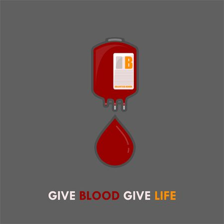 World Blood Donor Day. Blood Bag design. dripping Blood from blood bag. Give Blood Give Life. vector illustration.
