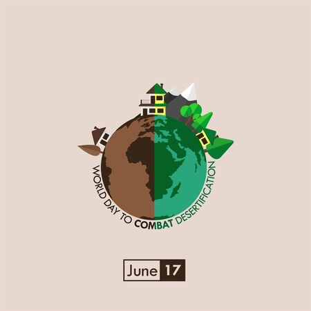 World Day to Combat Desertification. The Earth with One side dry and wet for other side. celebrate on june 17. vector illustration. Illusztráció