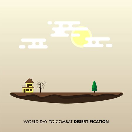 World Day to Combat Desertification. Dry land design. the house with dry tree and green tree. Flat Land design. vector illustration. Illusztráció