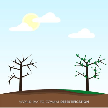 World Day to Combat Desertification. Dry land and wet land design. Dry tree and green tree. vector illustration. Illusztráció