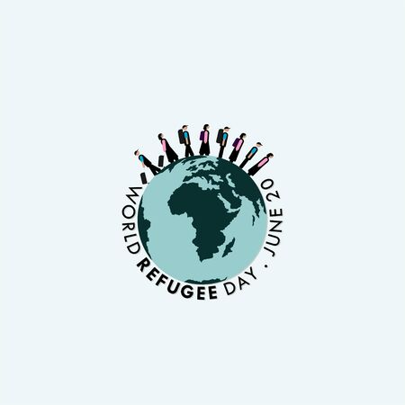 World Refugee Day. walking people on earth design. vector Illustration
