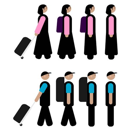 set of walking people design. vector Illustration