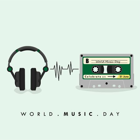 World Music Day. Music Headset with Cassette Design. Vector Illustration Illusztráció