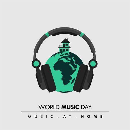 World Music Day. Music at home. Music Headset with Earth and house Design. Vector Illustration
