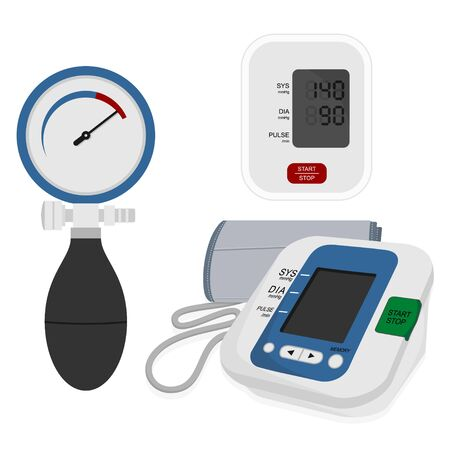 Set Object Of Blood Pressure Monitor. Medical Exam. Vector Illustration.