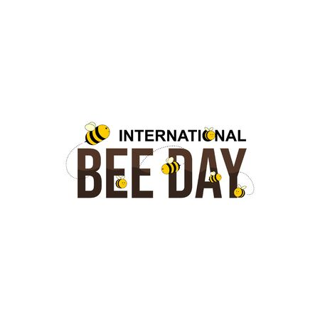 International Bee day. World Bee Day. Bee Day Typography Design. Flying Bee. Illustration Illusztráció