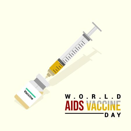 Syringe and Vaccine. syringe taking the vaccine. International day of AIDS Vaccine. World AIDS Vaccine Day. Illustration. Illusztráció