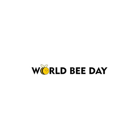 World Bee Day. Bee Day Typography Design with bee. Illustration Illusztráció