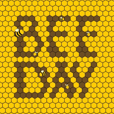 Bee Day. Nectar Background. Flying Bee. Bee Day Typography on nectar. Illustration.