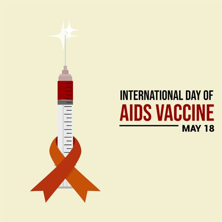 Ribbon on Syringe. Ribbon template. AIDS Day. World AIDS Vaccine Day. International Day of AIDS Vaccine. Illustration