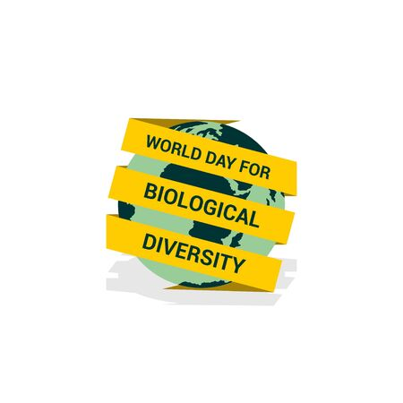 World Day For Biological Diversity with the Ribbon text surrounding the earth design. Illustration. Earth and Ribbon template design Illusztráció