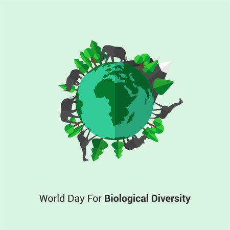 World Day For Biological Diversity. Wild Animal surround the earth concept design. Illustration.