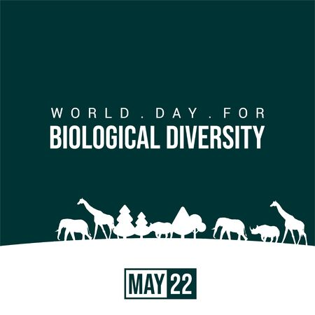World Day For Biological Diversity. Silhouette Wildlife design. Wild animal life in the forest silhouette design. Illustration.