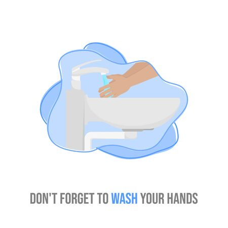 illustration of Hand washing with sink and faucet. good for washing hand template design. Illusztráció