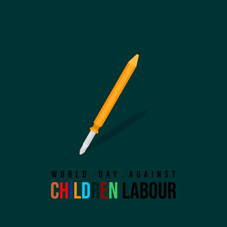 World Day Against Children Labour vector Illustration with Screwdriver and pencil. good template for children labor day, world day against children labor, etc.