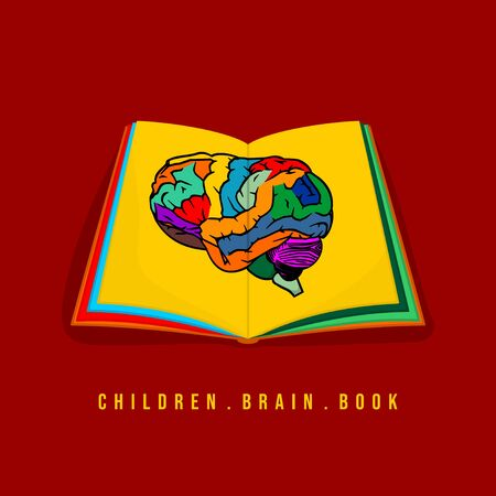 Vector Illustration of Color Brain on Colorful Children book. Perfect template for Children day, children book day, children day, etc. Illusztráció