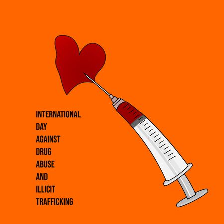 illustration for international day against drug abuse and illicit trafficking with syringe and heart broken.