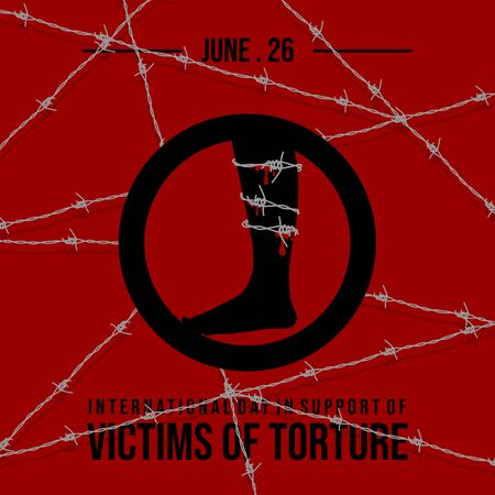 Vector design of International day in support of victims of torture with barbed wire coiled around the leg concept design. celebrate on june 26. Illusztráció