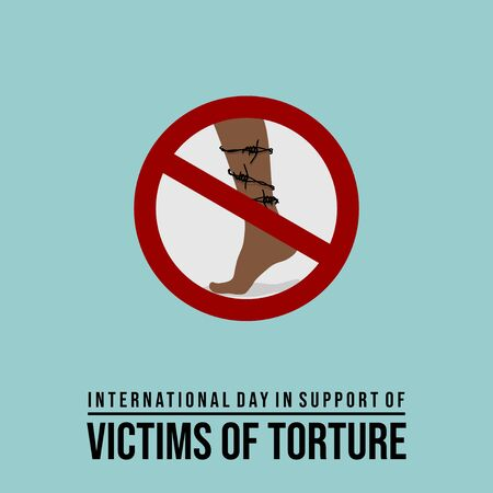 Vector design of International day in support of victims of torture with barbed wire coiled around the leg and stop sign. celebrate on june 26. Иллюстрация