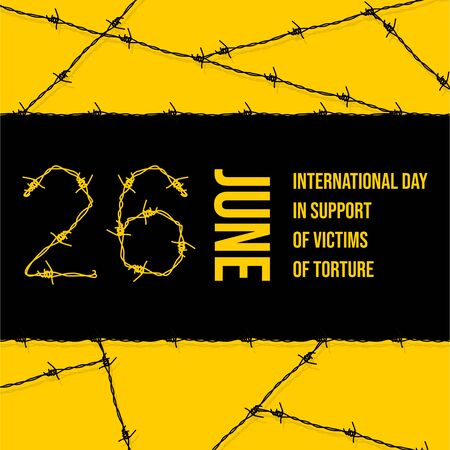 Vector design of International day in support of victims of torture with Barbed wire concept design. celebrate on june 26. Illusztráció