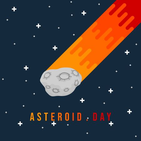 Vector Illustration of Flying Asteroid Stone in space. good template for space design, or International Asteroid Day.