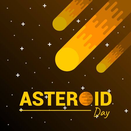Vector Illustration of Asteroid in space. good template for space design, or International Asteroid Day.