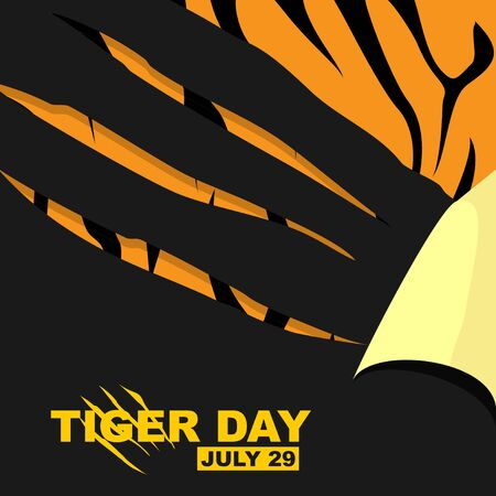 Tiger Day illustration with scratching tiger of paper. tiger fur texture for background design. perfect template for tiger poster design.