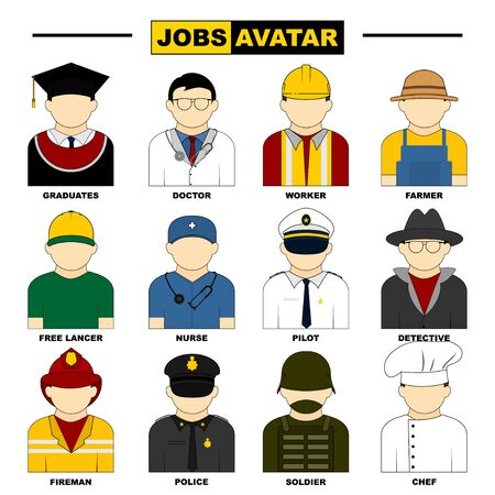 Set Object of Jobs Avatar vector Illustration. Perfect template for Avatar or Character icon design. 向量圖像