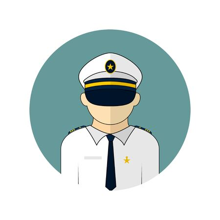 vector illustration of the pilot avatar icon. Perfect template for flight or captain design. 向量圖像