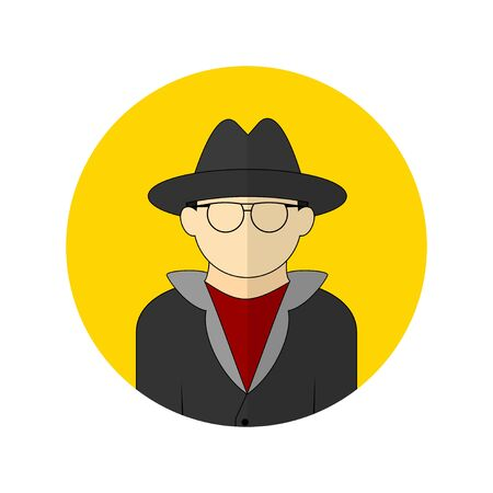 vector illustration of the detective avatar icon. Perfect template for security design. 向量圖像