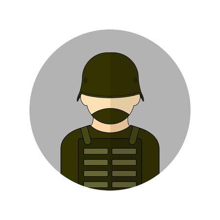 vector illustration of the soldier avatar icon. Perfect template for security design. 向量圖像