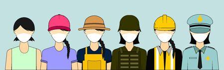 working women wearing masks vector illustration. good template for working or health design. Ilustración de vector