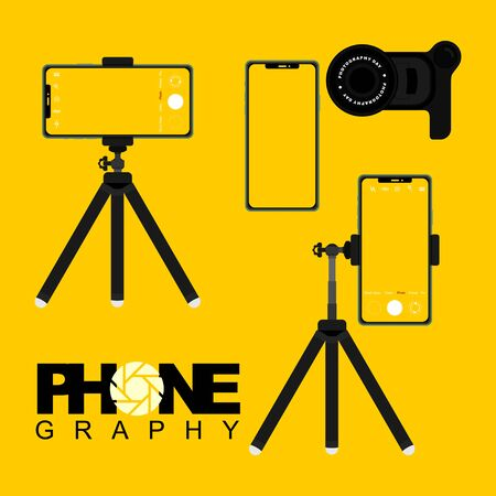 Mobile device template with tripod and lens camera vector illustration. Perfect template for phone design. 일러스트