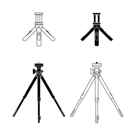 Set object of Camera Tripod vector illustration. good template for Photography design.