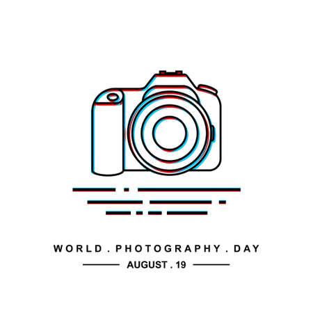 World Photography Day illustration with DSLR camera outline design.