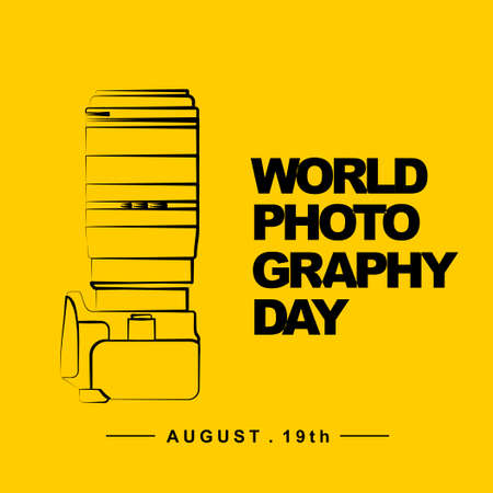 World Photography Day with camera outline art illustration. Good template for Photography design.