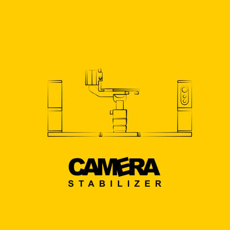 Line art of Gimbal stabilizer vector illustration. good template for studio or photography design Ilustração