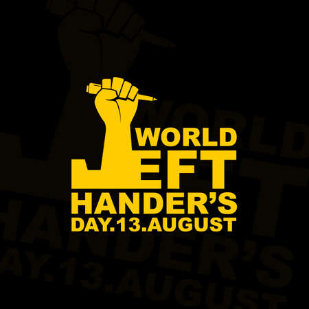 Typography for World Lefthander's day with left hand vector illustration. Illustration